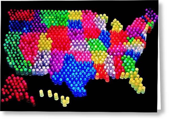 United States Of Lite Brite Greeting Card by Benjamin Yeager