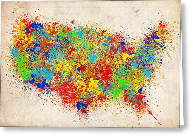 United States Splat Color Map  Greeting Card by Bekim Art