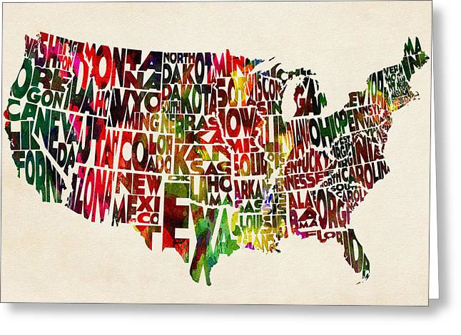 United States Watercolor Map Greeting Card by Ayse Deniz