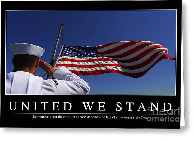 United We Stand Inspirational Quote Greeting Card by Stocktrek Images