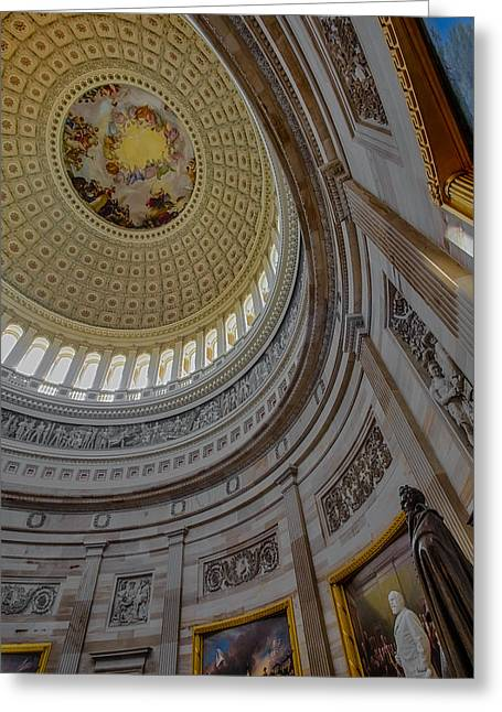 Unites States Capitol Rotunda Greeting Card by Susan Candelario