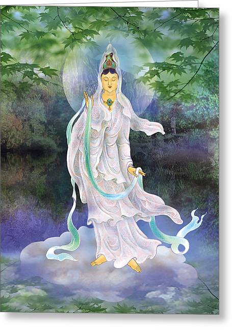 Universal Kuan Yin Greeting Card by Lanjee Chee