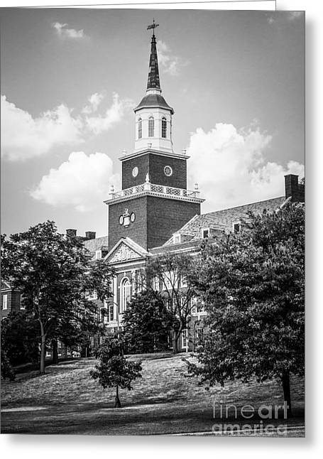 University Of Cincinnati Black And White Picture Greeting Card by Paul Velgos