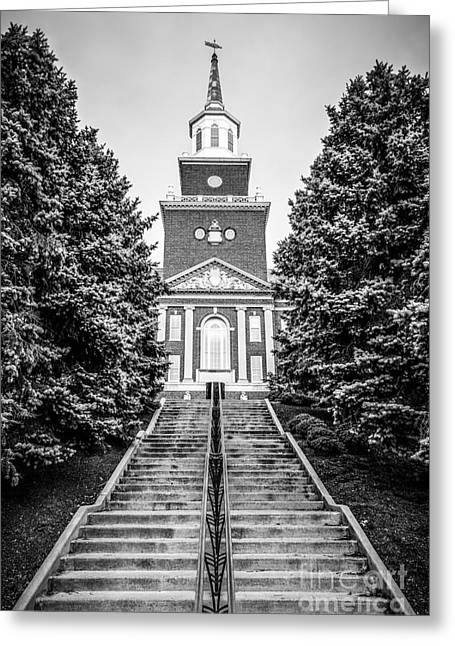 University Of Cincinnati Mcmicken Hall Black And White Picture Greeting Card