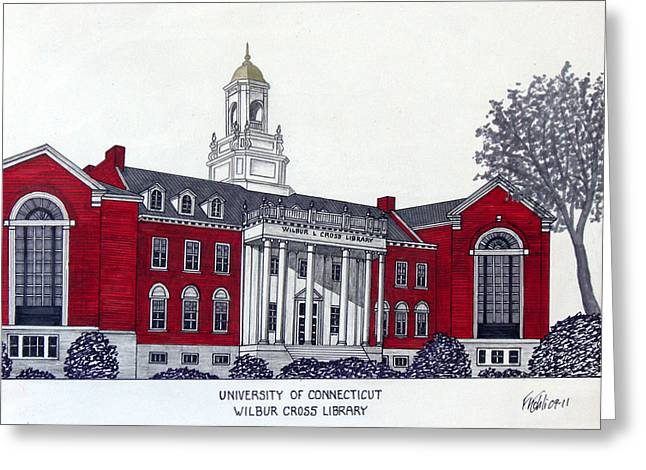 University Of Connecticut Greeting Card by Frederic Kohli