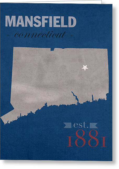 University Of Connecticut Huskies Mansfield College Town State Map Poster Series No 033 Greeting Card by Design Turnpike