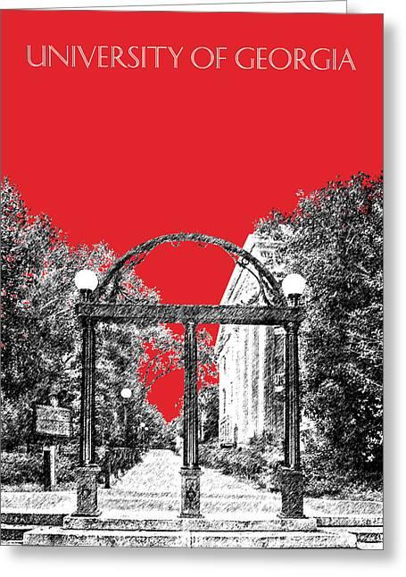 University Of Georgia - Georgia Arch - Red Greeting Card by DB Artist