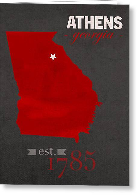 University Of Georgia Bulldogs Athens College Town State Map Poster Series No 040 Greeting Card by Design Turnpike