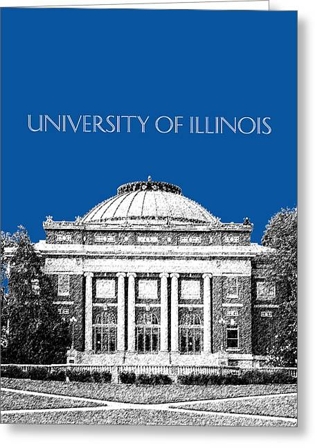 University Of Illinois Foellinger Auditorium - Royal Blue Greeting Card by DB Artist