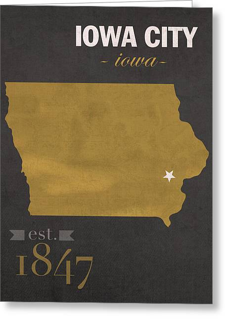 University Of Iowa Hawkeyes Iowa City College Town State Map Poster Series No 049 Greeting Card