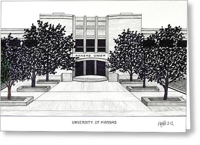 University Of Kansas Union Building Greeting Card by Frederic Kohli