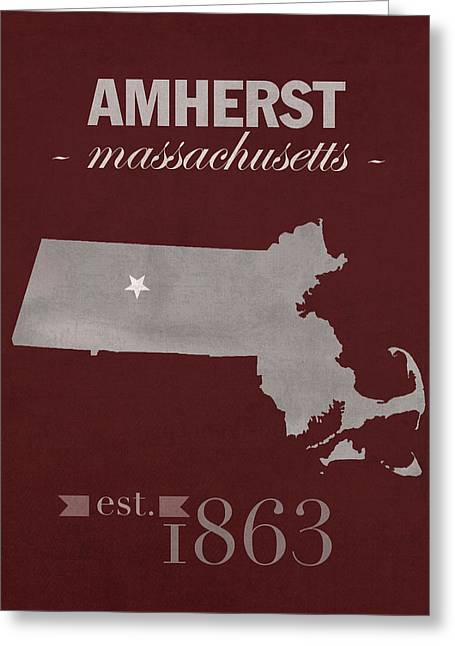 University Of Massachusetts Umass Minutemen Amherst College Town State Map Poster Series No 062 Greeting Card