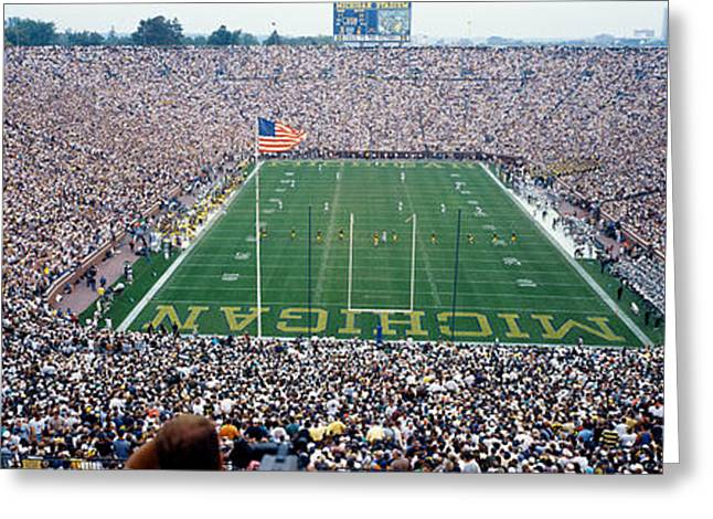 University Of Michigan Football Game Greeting Card by Panoramic Images