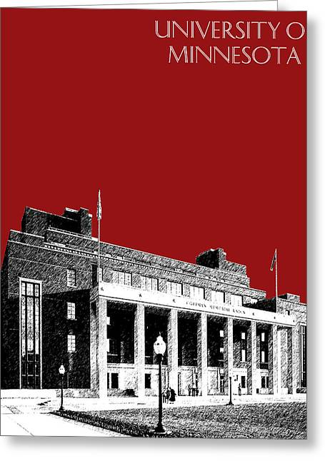 University Of Minnesota - Coffman Union - Dark Red Greeting Card by DB Artist