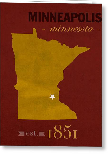University Of Minnesota Golden Gophers Minneapolis College Town State Map Poster Series No 066 Greeting Card