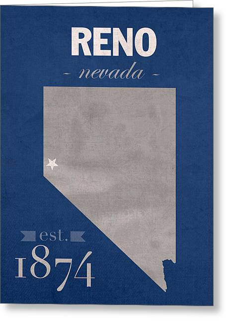 University Of Nevada Reno Wolfpack College Town State Map Poster Series No 072 Greeting Card by Design Turnpike