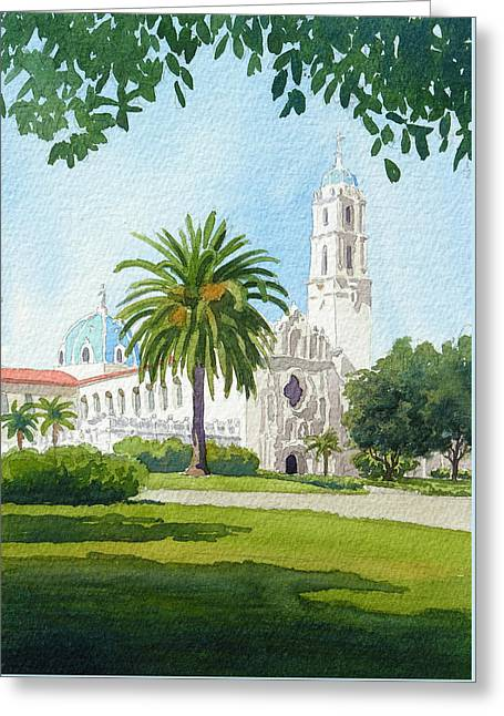 University Of San Diego Greeting Card by Mary Helmreich