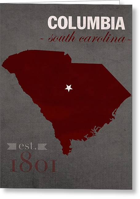 University Of South Carolina Gamecocks Columbia College Town State Map Poster Series No 096 Greeting Card by Design Turnpike