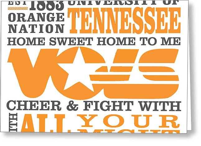 University Of Tennessee Graphic Canvas Greeting Card by Debbie Karnes