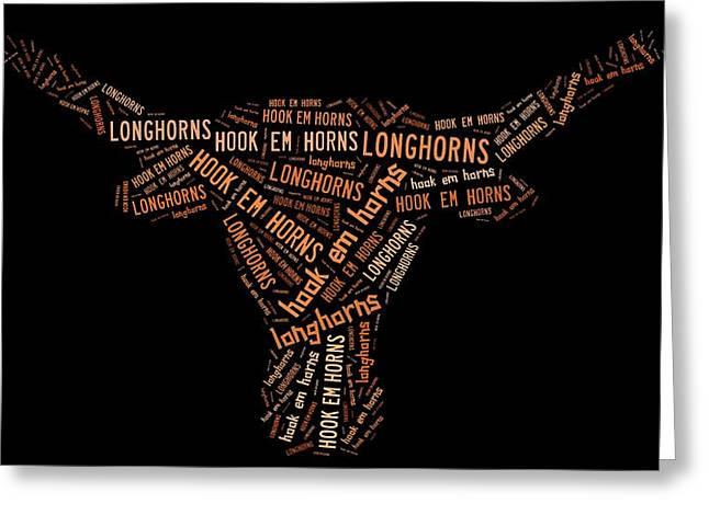 University Of Texas Greeting Card by Linda Brown
