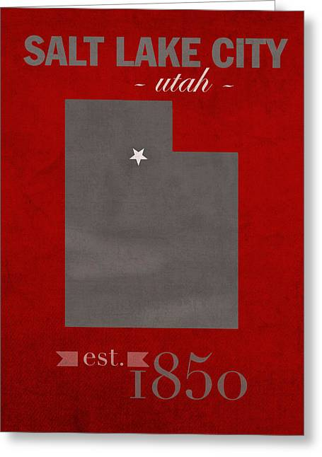 University Of Utah Utes Salt Lake City College Town State Map Poster Series No 116 Greeting Card