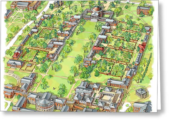 University Of Virginia Academical Village  Greeting Card by Maria Rabinky