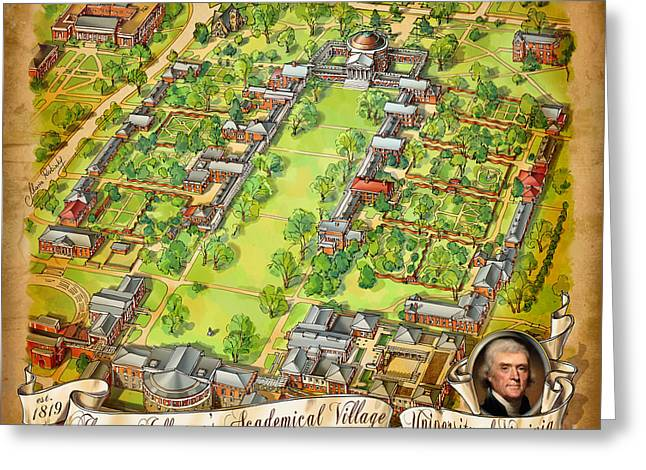 University Of Virginia Academical Village  With Scroll Greeting Card by Maria Rabinky