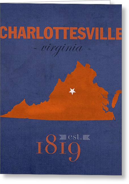 University Of Virginia Cavaliers Charlotteville College Town State Map Poster Series No 119 Greeting Card by Design Turnpike