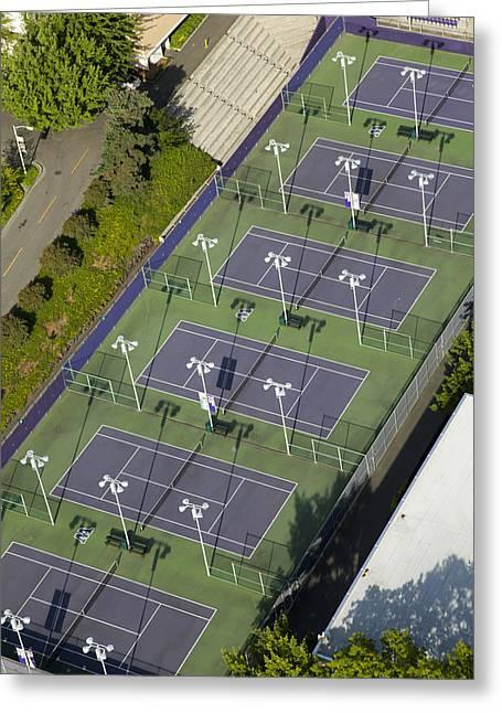 University Of Washington Tennis Courts Greeting Card by Andrew Buchanan/SLP
