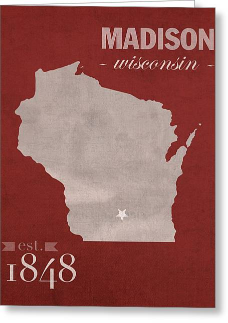 University Of Wisconsin Badgers Madison Wi College Town State Map Poster Series No 127 Greeting Card by Design Turnpike