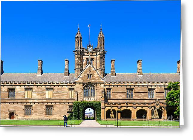 University Quadrangle With Gothic Revival Architecture Greeting Card