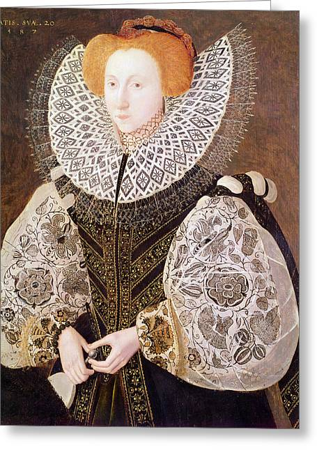 Unknown Girl, Aged 20, 1587 Oil On Panel Greeting Card by John, the Younger Bettes