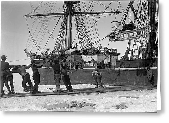 Unloading Antarctic Motor Sledge Greeting Card by Scott Polar Research Institute