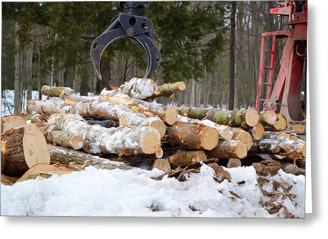 Unloading Firewood 3 Greeting Card by Lanjee Chee