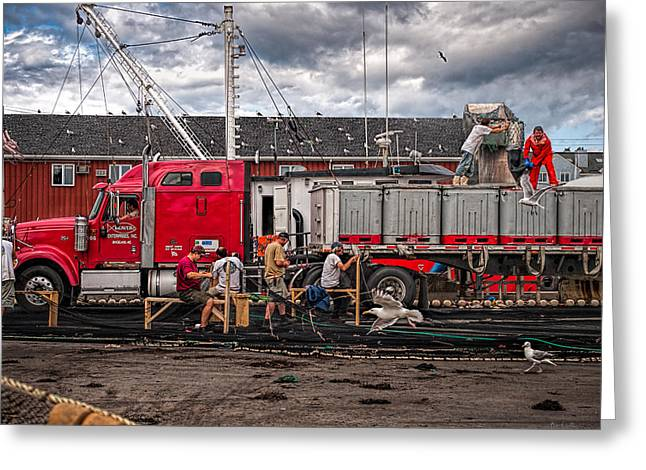 Unloading Fish And Mending Nets Greeting Card by Bob Orsillo