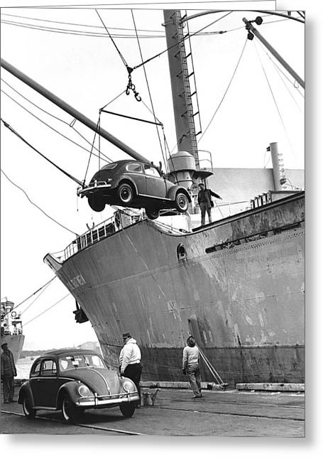 Unloading Volkswagons Greeting Card by Underwood Archives
