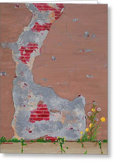 Unmasking The Red Brick Wall Greeting Card by Donna  Manaraze