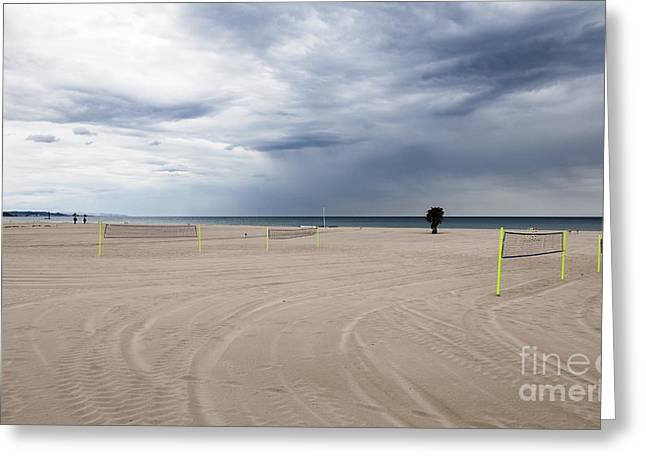 Unoccupied Beach Vollyball Nets On An Overcast Empty Beach Greeting Card