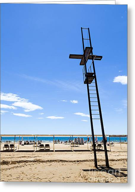 Unoccupied Lifeguard Platform On  The Beach  Greeting Card