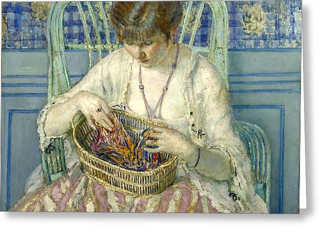 Unraveling Silk  Greeting Card by Carl Frieseke