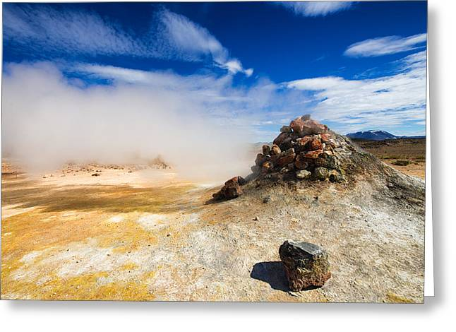 Unreal Landscape In Iceland - Geothermal Area Hverir Greeting Card by Matthias Hauser