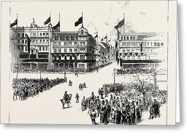 Unter Den Linden, The Death Of The Late Emperor William Greeting Card by German School