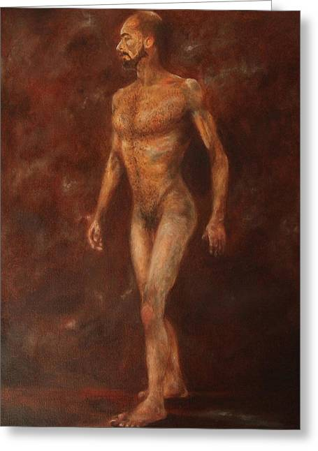 The Nude Walking Greeting Card by Pralhad Gurung