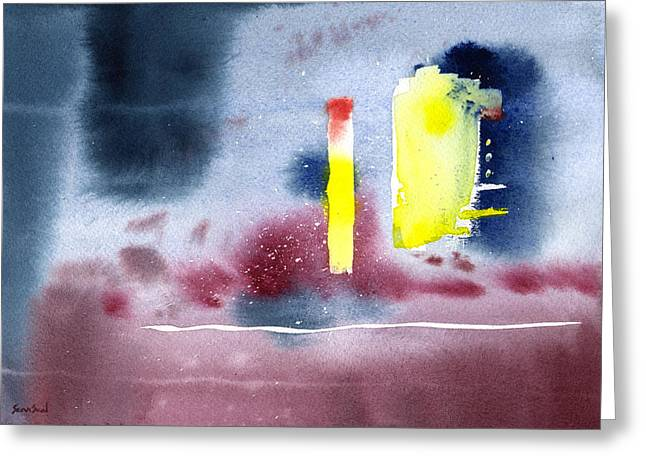 Greeting Card featuring the painting Untitled Abstract 9-114 by Sean Seal