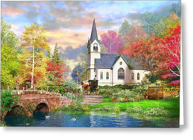 Autumnal Church Greeting Card