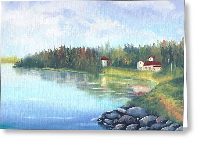 Untitled Landscape Oil Painting Greeting Card