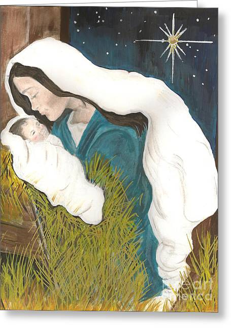 Unto Us A Child Is Born-glory To God - Christmas Greeting Card by Jan Dappen