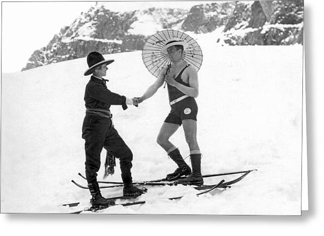 Unusual Meeting On The Slopes Greeting Card by Underwood Archives
