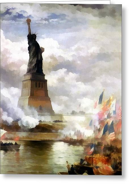 Unveiling The Statue Of Liberty Greeting Card