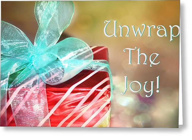 Unwrap The Joy Xmas Card Greeting Card by Paulette B Wright